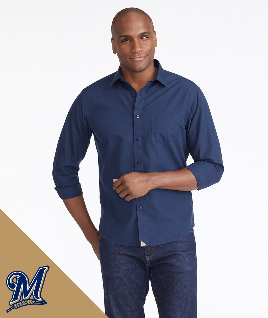 Model wearing a Navy Brewers Signature Series Button-Down