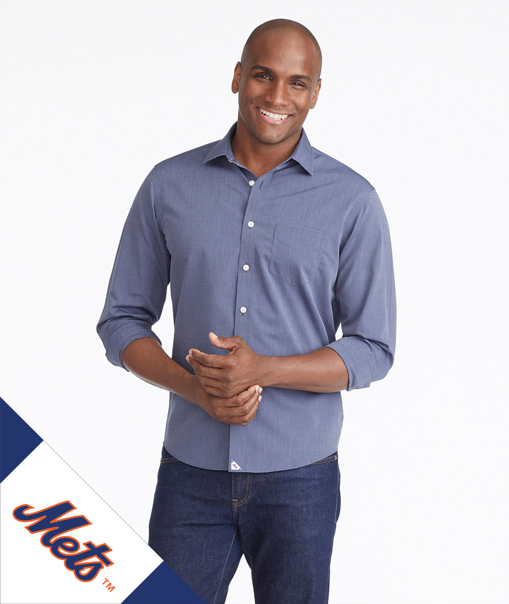 Model wearing a Mid Blue Mets Signature Series Button-Down