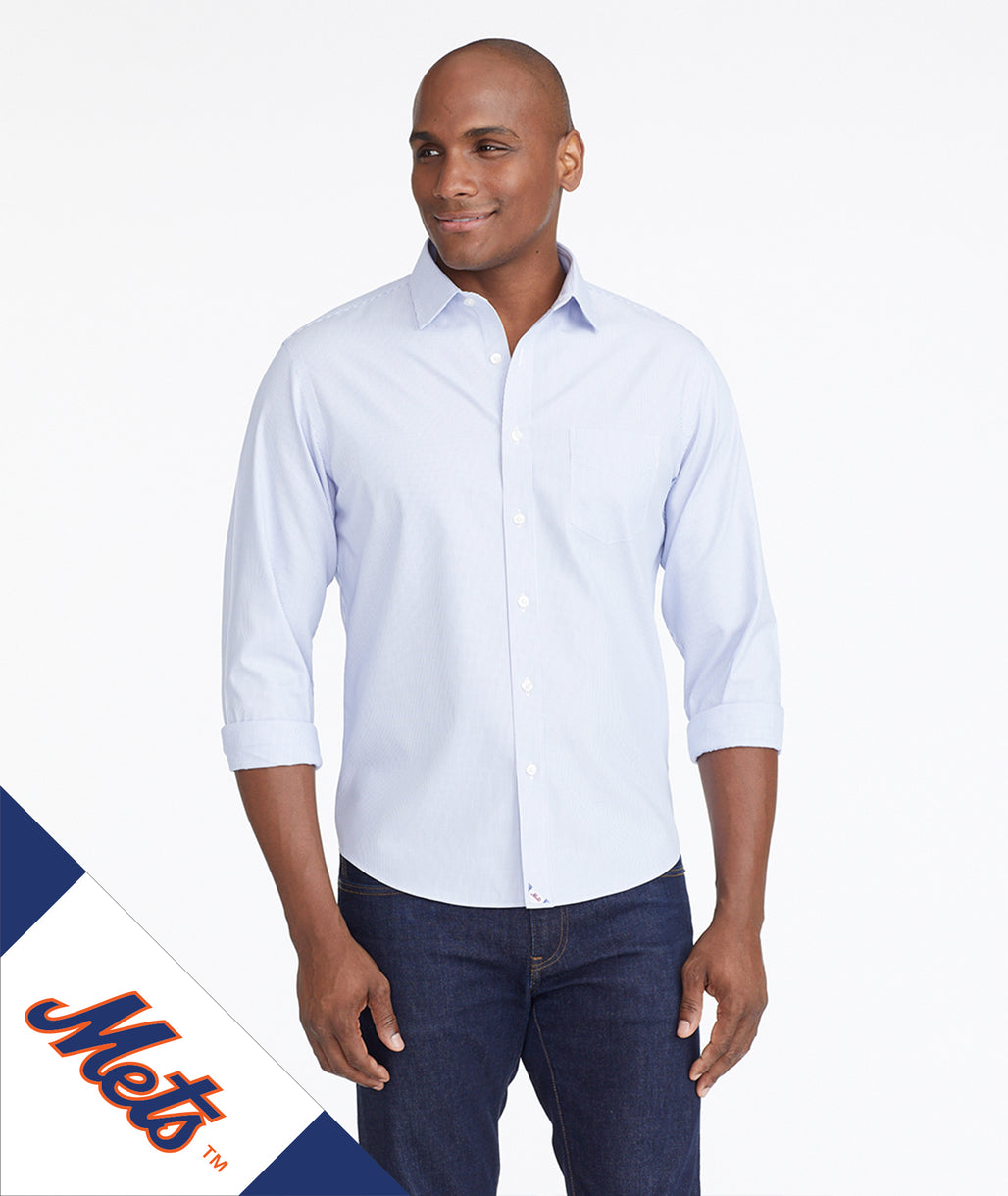Model wearing a Light Blue Mets Signature Series Button-Down