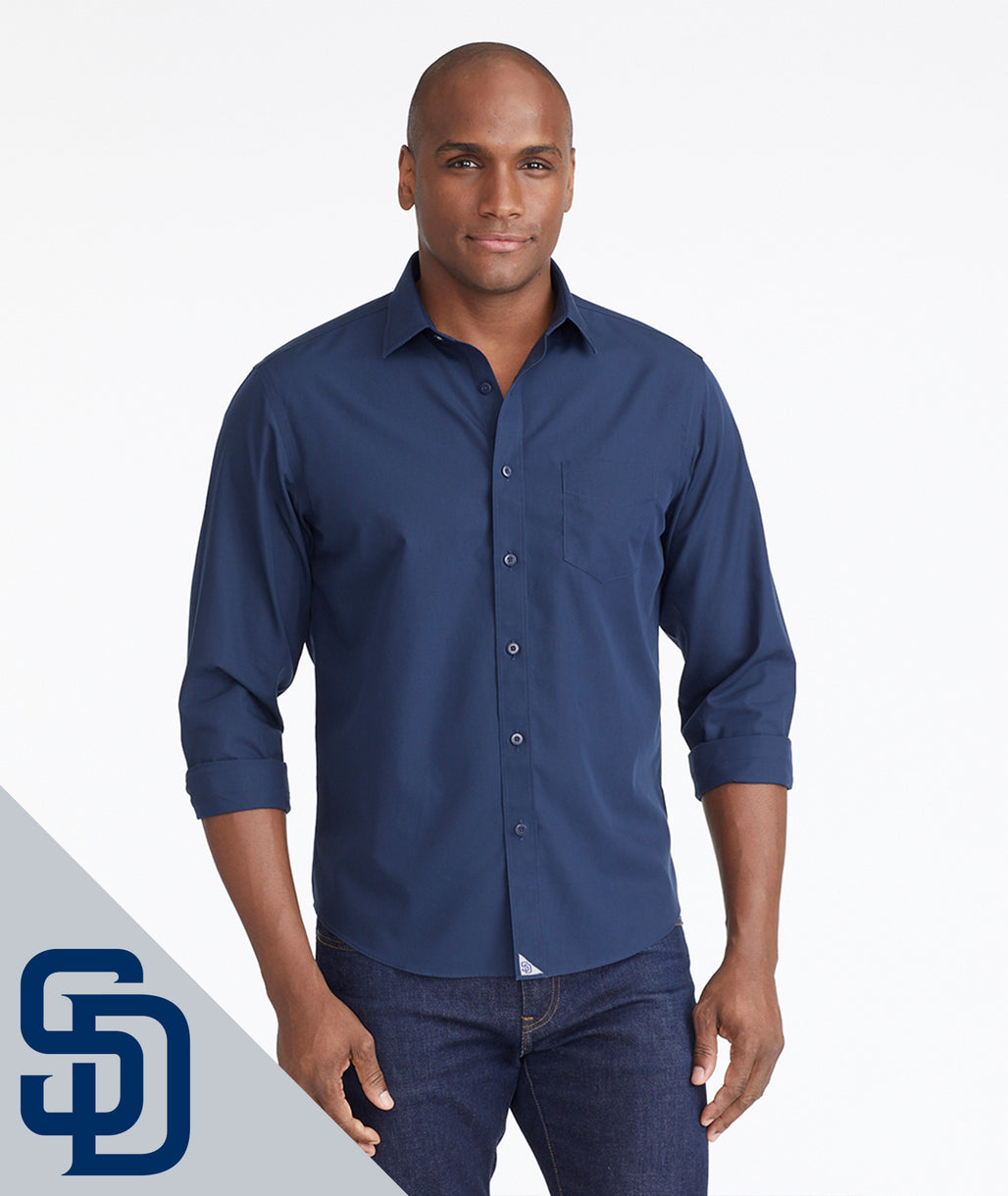 Model wearing a Navy Padres Signature Series Button-Down