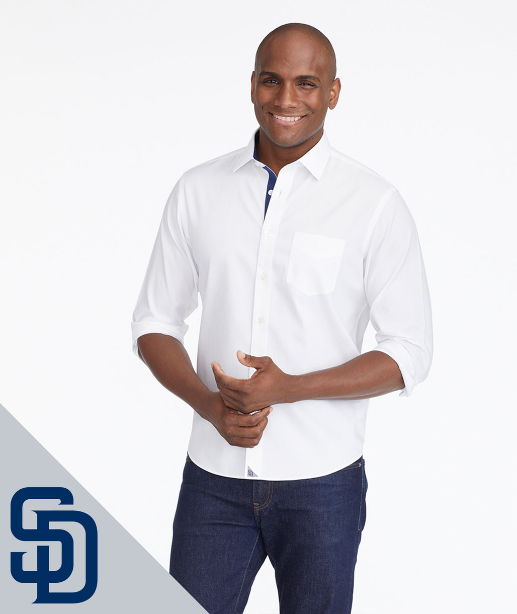 Model wearing a White Padres Signature Series Button-Down