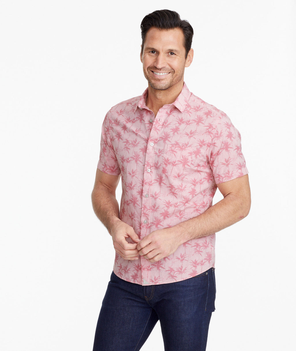 Model wearing a Pink Classic Cotton Short-Sleeve Moldavia Shirt