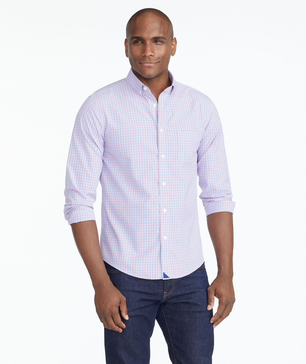 Model wearing a Mid Blue Luxe Wrinkle-Free Monroeville Shirt