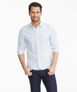 Model wearing a Blue Luxe Wrinkle-Free Monteverro Shirt