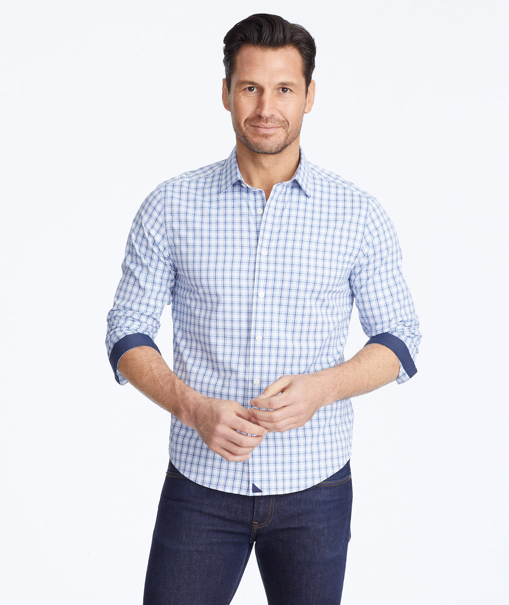 Model wearing a Blue Wrinkle-Free Performance+ Oliver Hill Shirt