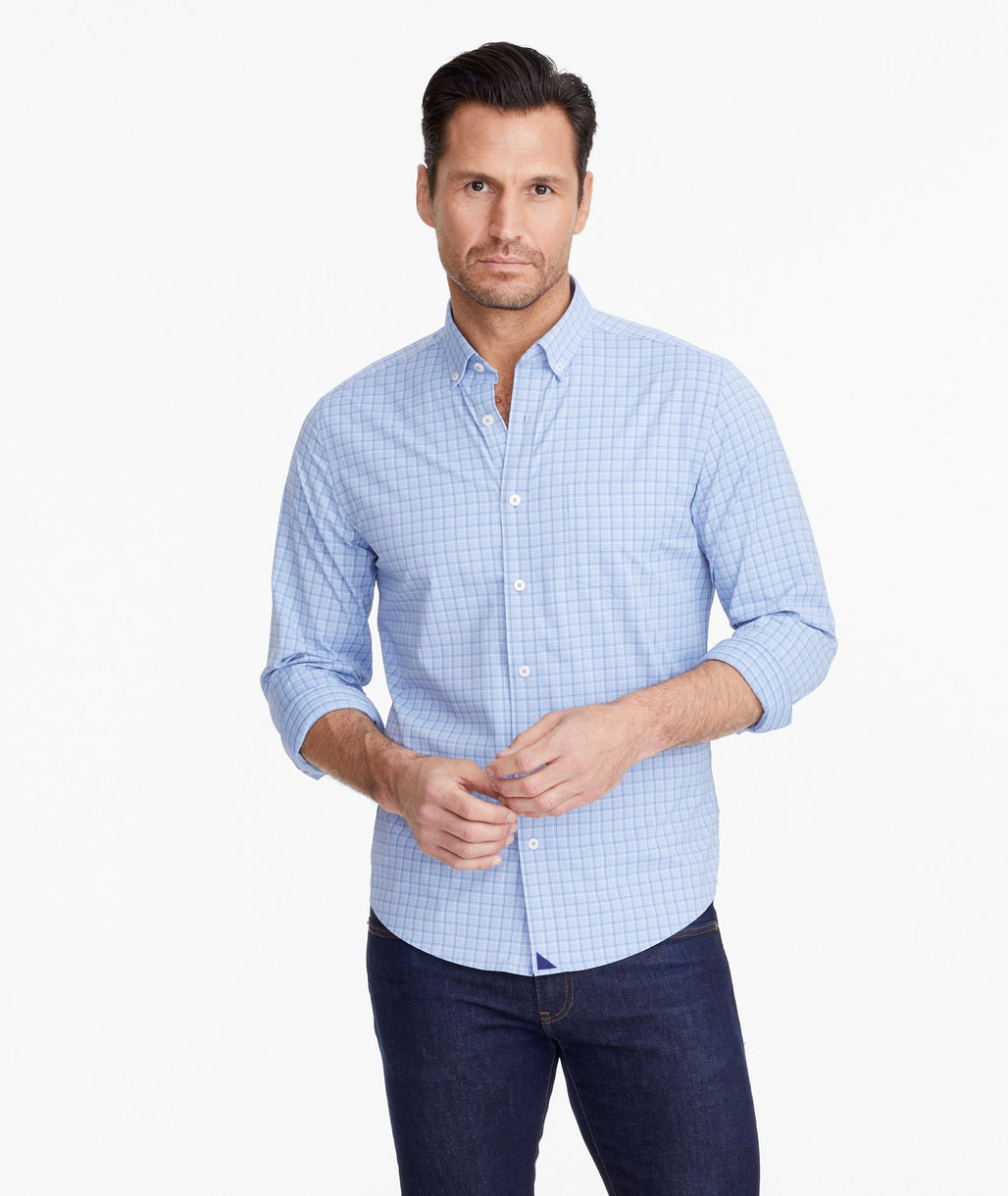 Model wearing a Light Blue Wrinkle-Free Performance+ Parrino Shirt