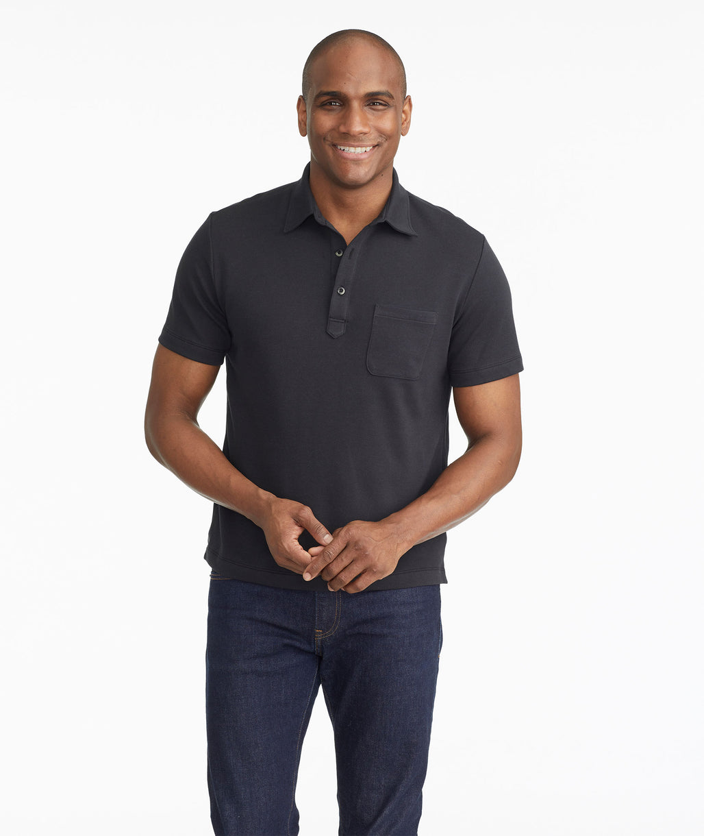 Model wearing a Black The Lafayette Polo - FINAL SALE