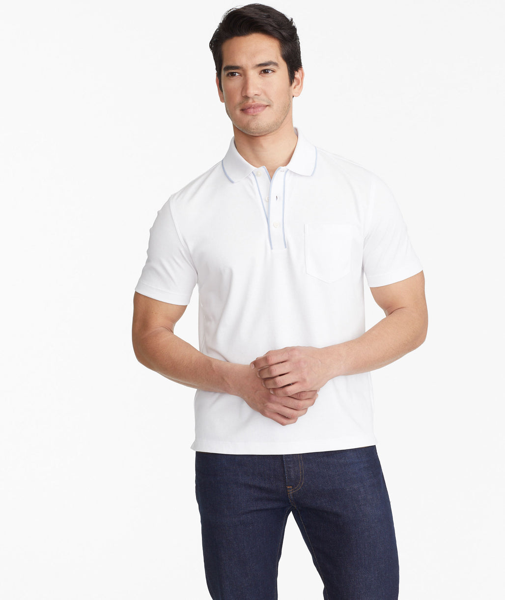 Model wearing a White The Wrinkle-Free Polo