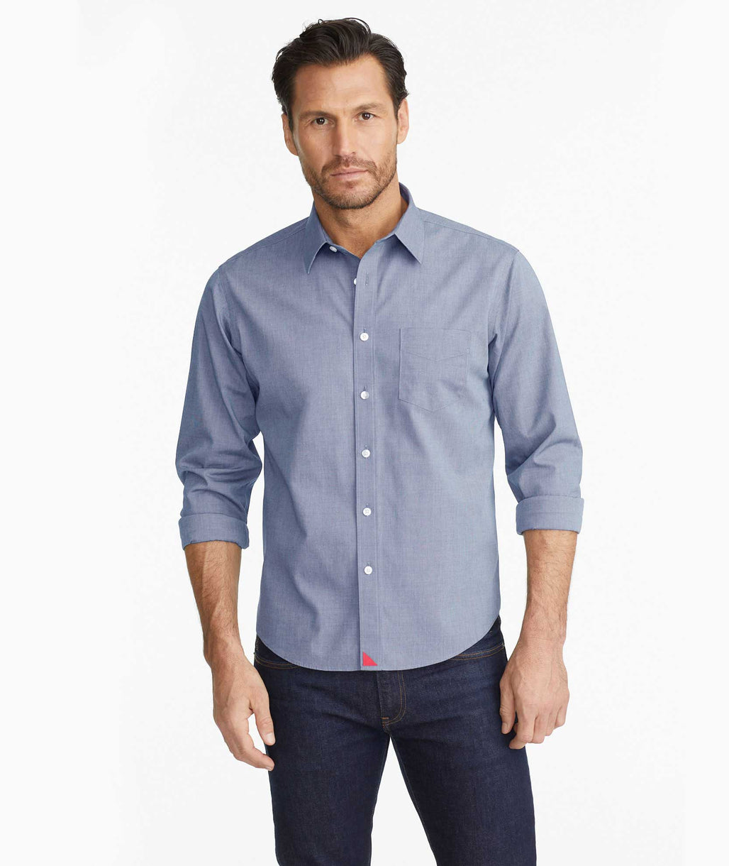 Model wearing a Navy Wrinkle-Free Pio Cesare Shirt