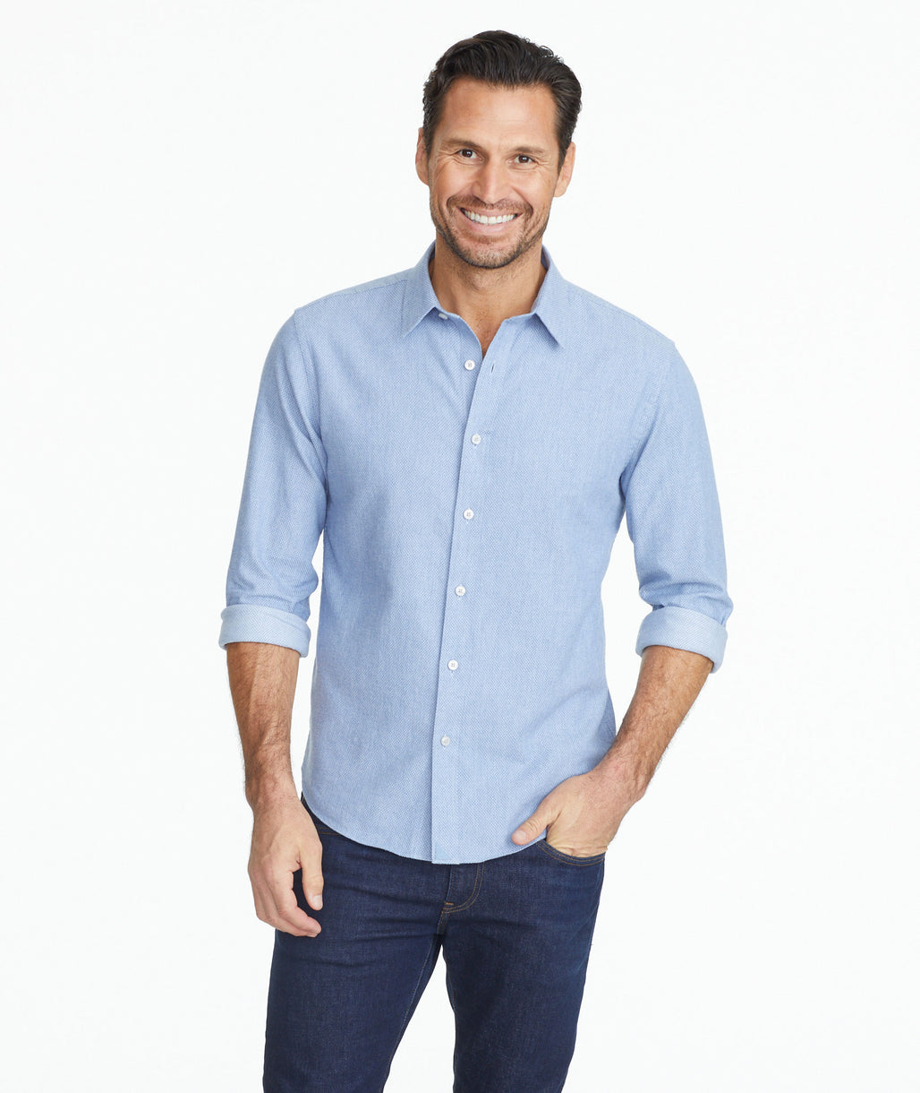 Model wearing a Light Blue Classic Cotton Priam Shirt