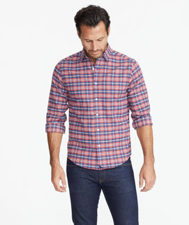 Model wearing a Red Wrinkle-Free Performance Flannel Shirt