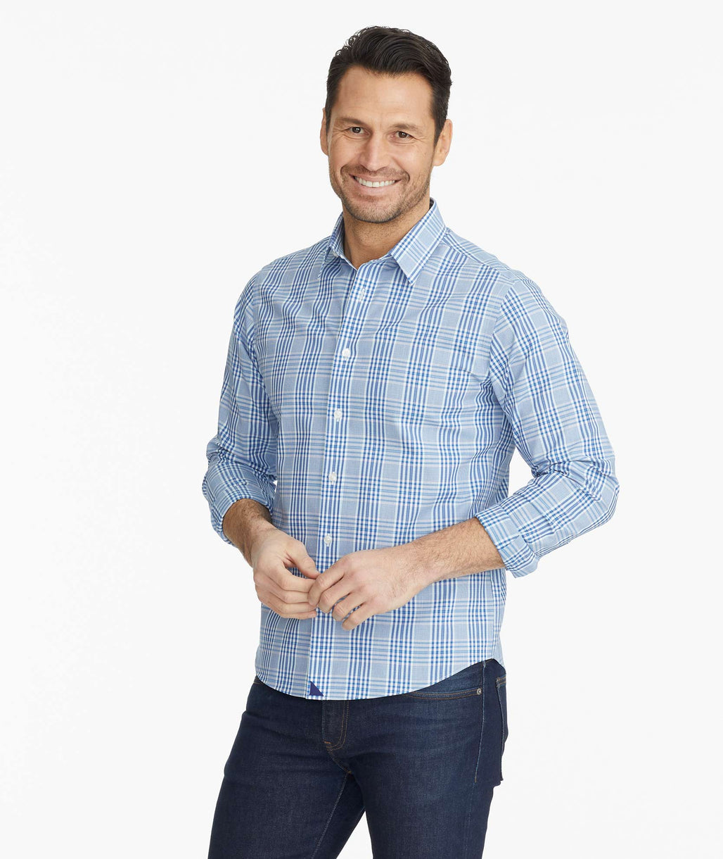 Model wearing a Blue Wrinkle-Free Reventon Shirt