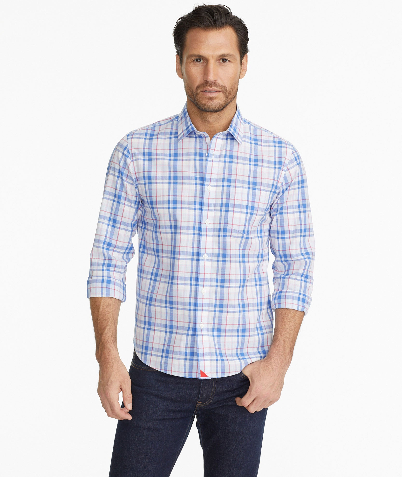 569b5fb6 Reynvaan Wrinkle Free Blue White & Red Plaid | UNTUCKit