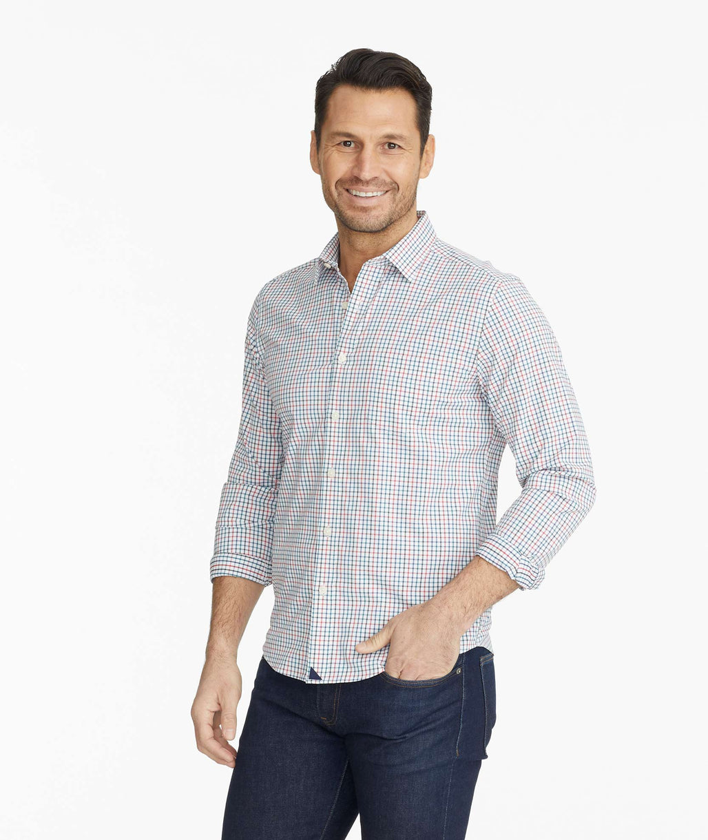Model wearing a Red Wrinkle-Free Performance Sattler Shirt