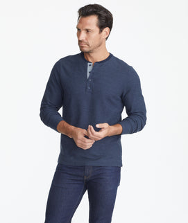 Model wearing a Navy Long-Sleeve Textured Henley