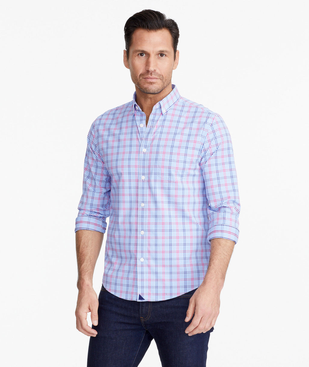 Model wearing a Light Blue Wrinkle-Free Performance+ Scansano Shirt