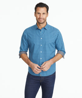 Model wearing a Wrinkle-Free Seastone Shirt