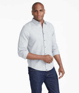 Model wearing a Grey Flannel Sherwood Shirt