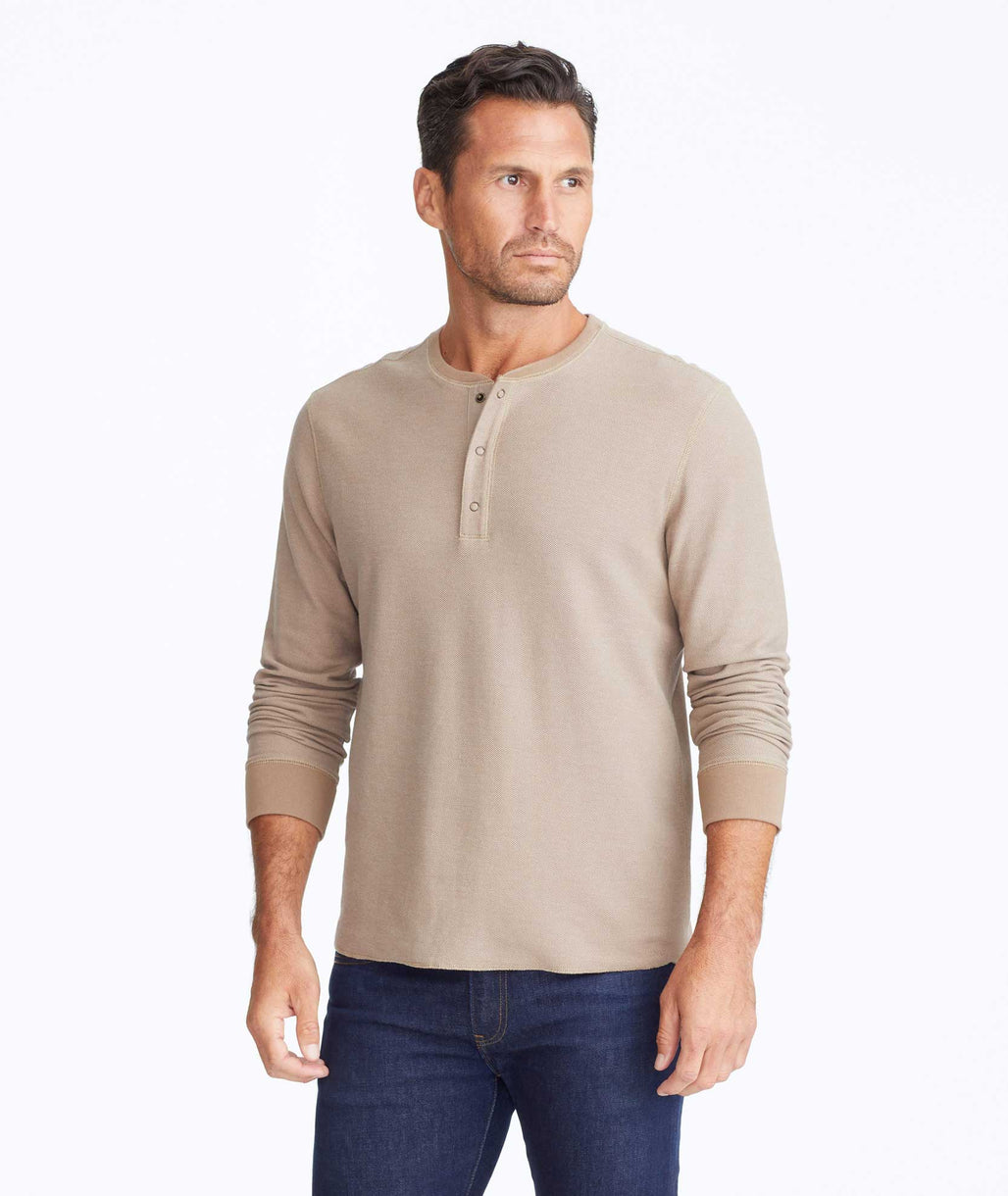 Model wearing a Tan Textured Long-Sleeve Henley