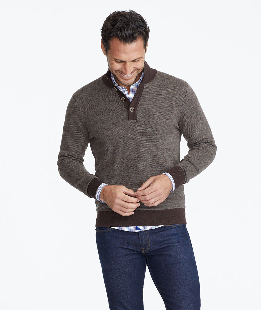 Model wearing a  Button-Neck Merino Sweater