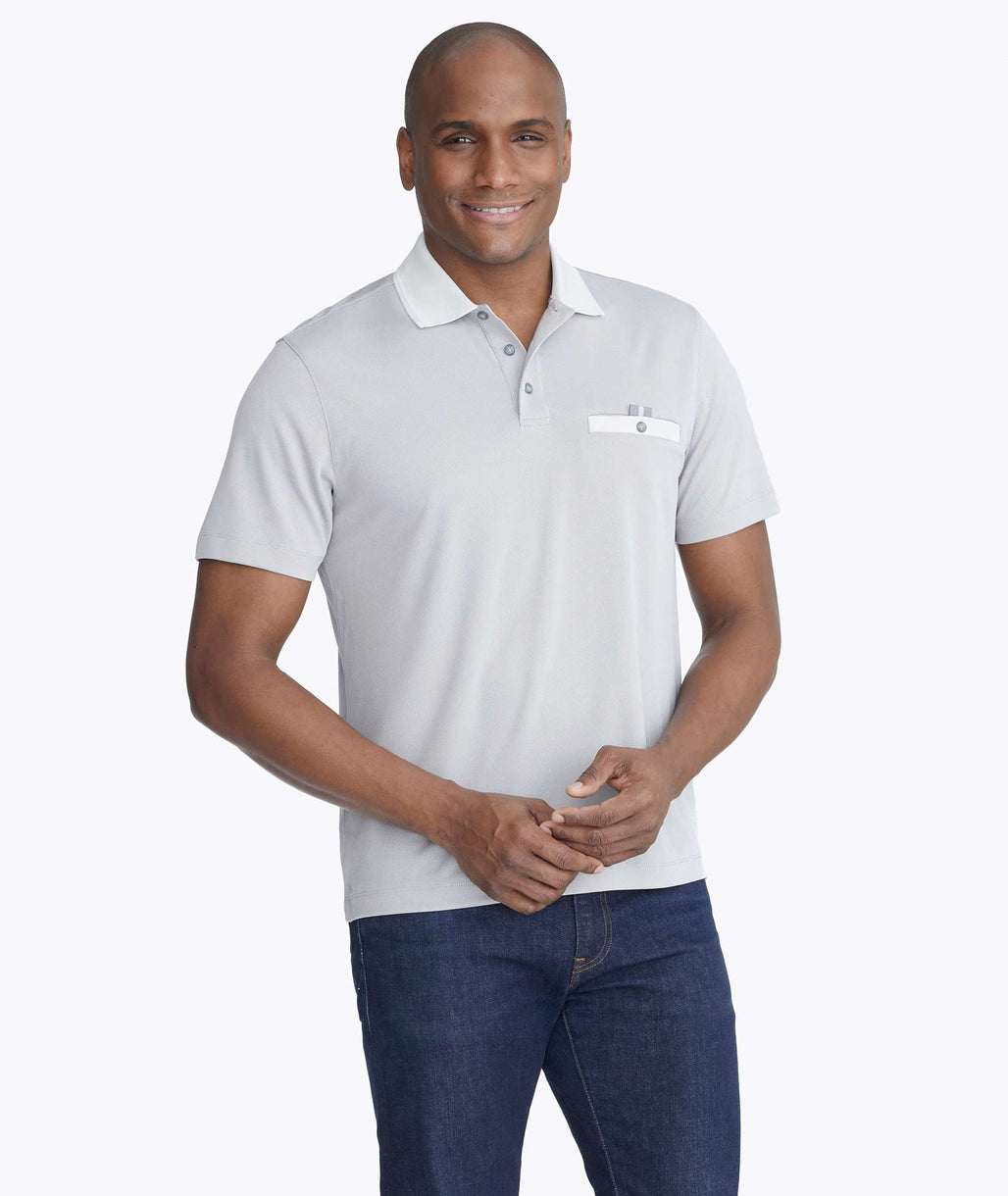 Model wearing a Grey No Sweat Pocket Polo