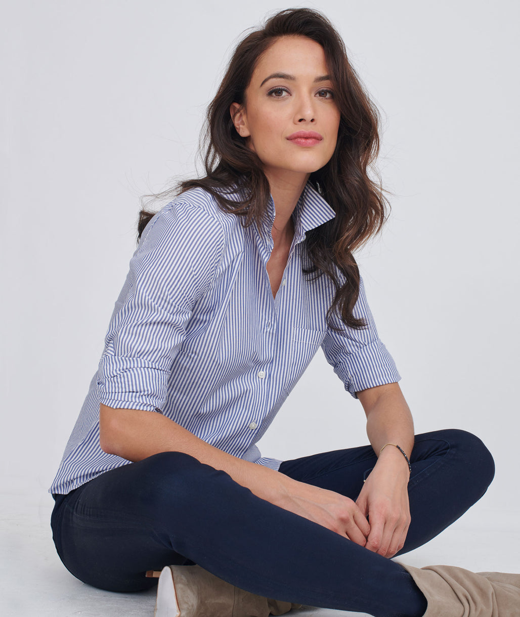 Model wearing a Blue Spagnol