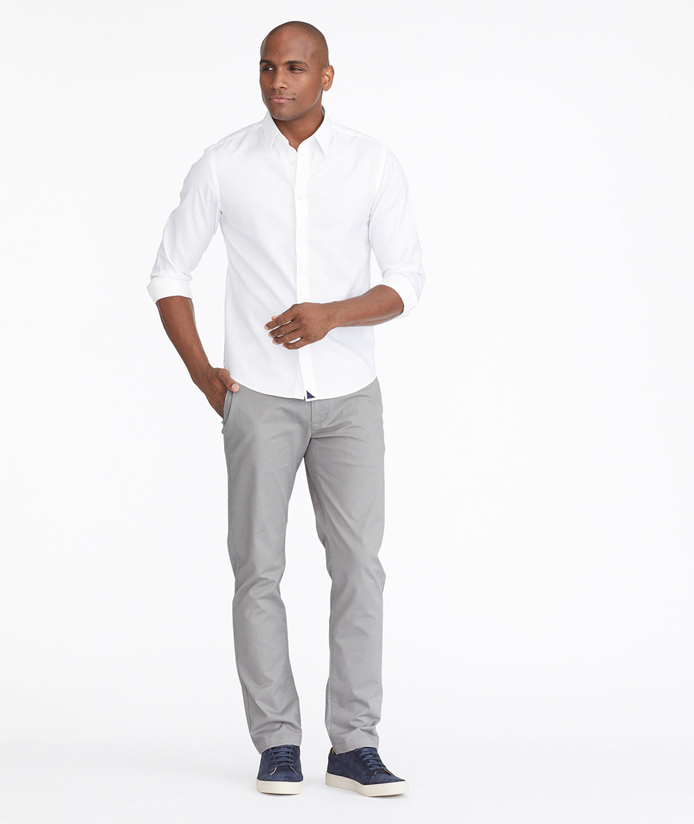 Model wearing a Light Grey Chino Pants