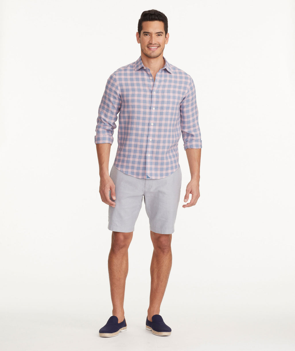 Model wearing a Grey Cotton-Linen Shorts