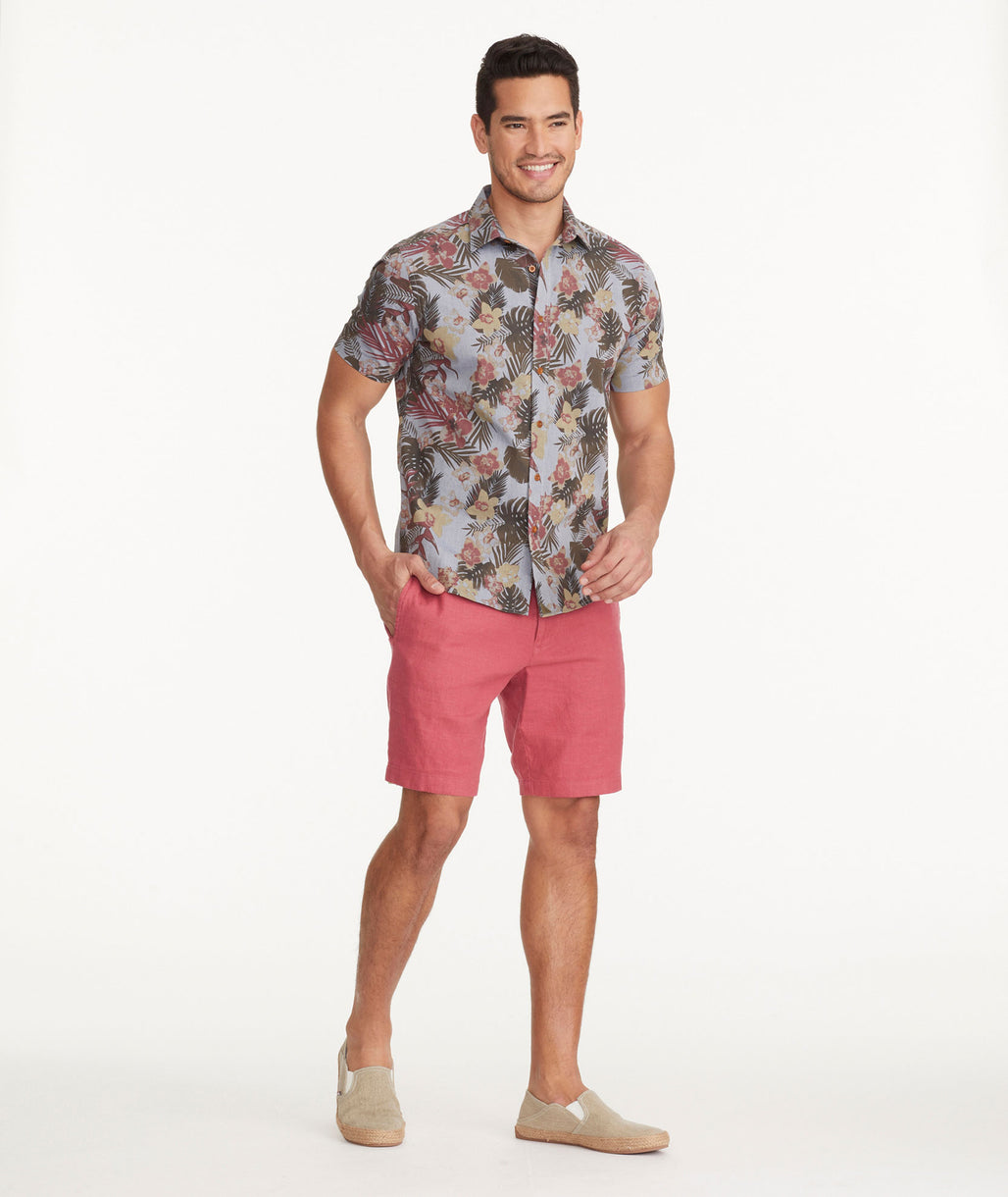 Model wearing a Red Cotton-Linen Shorts