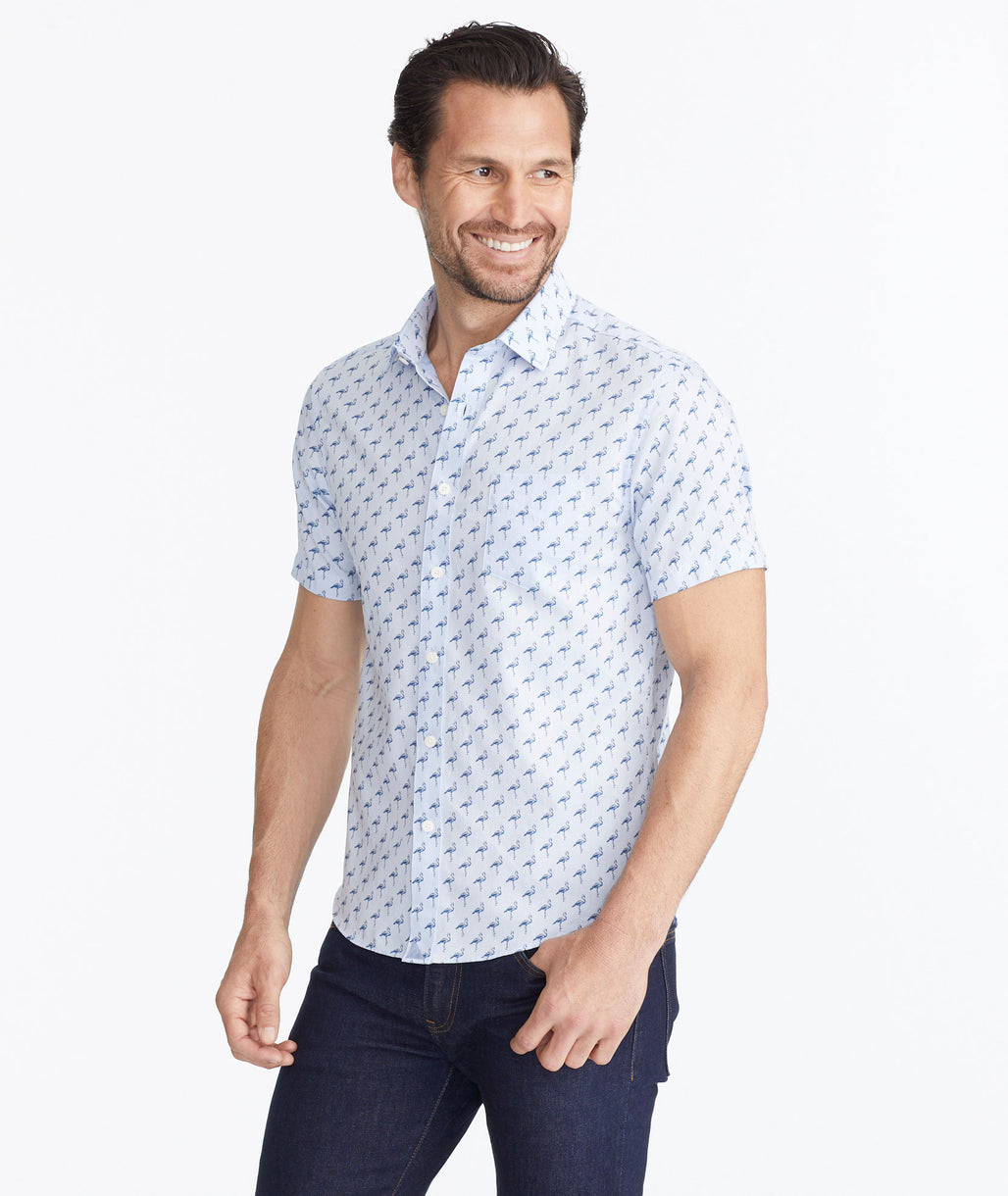 Model wearing a Blue Classic Short-Sleeve Shirt with Flamingo Print - FINAL SALE