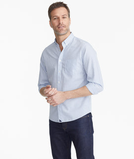 Model wearing a Blue Wrinkle-Free Tanin Shirt