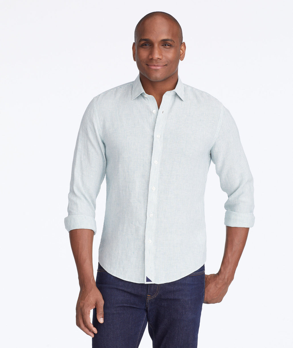Model wearing a Green Wrinkle-Resistant Linen Tercos Shirt