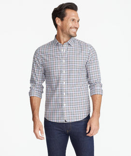 Model wearing a Purple Wrinkle-Free Terravant Shirt
