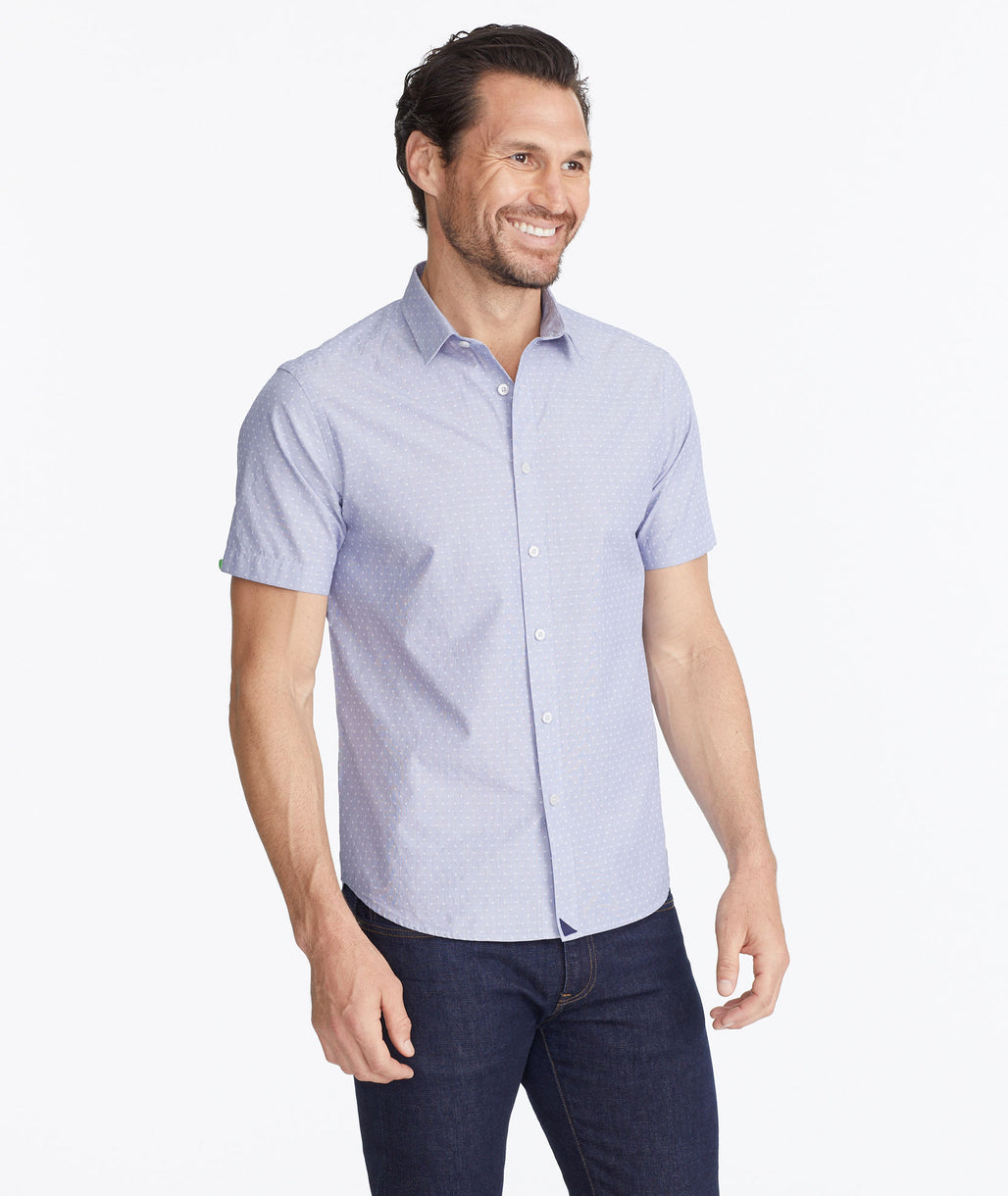 Model wearing a Dark Blue Classic Short-Sleeve Shirt with Dot Print