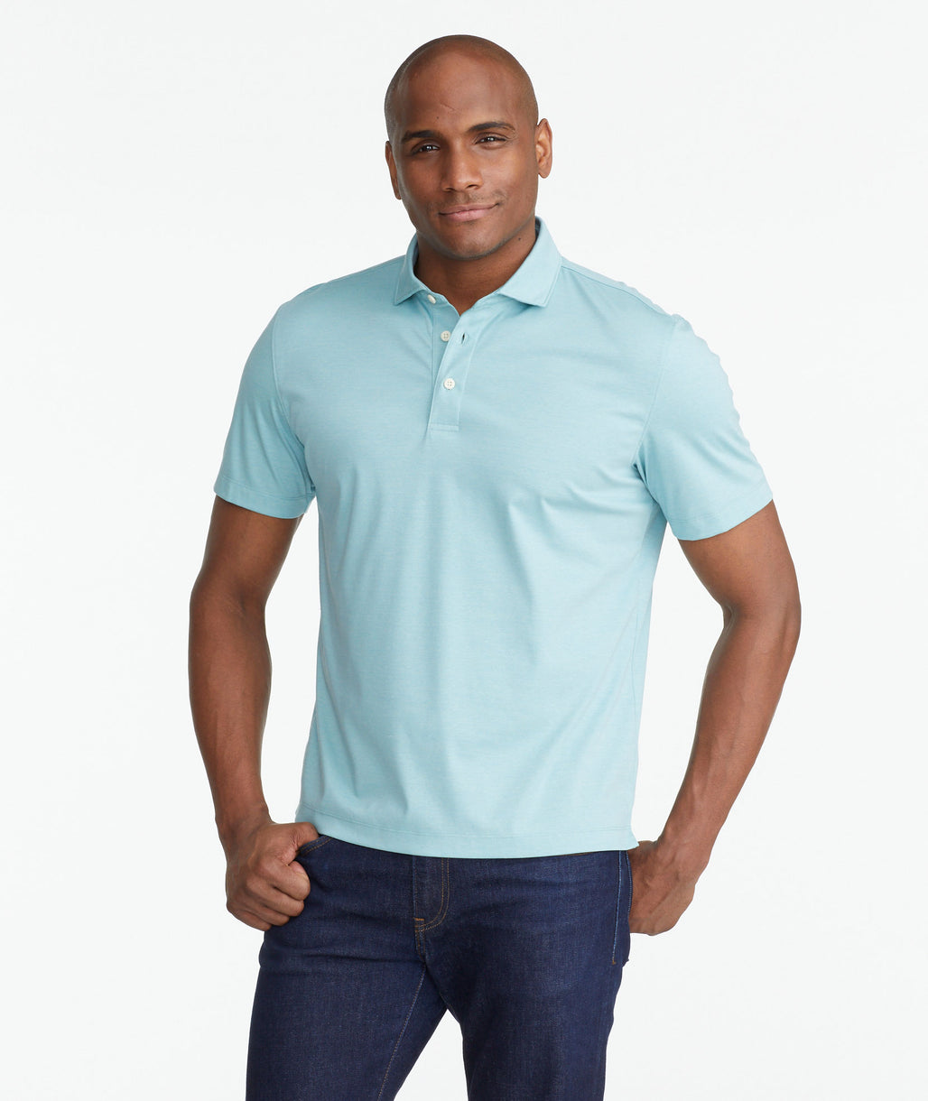 Model wearing a Green Luxe Wrinkle-Free Pique Polo