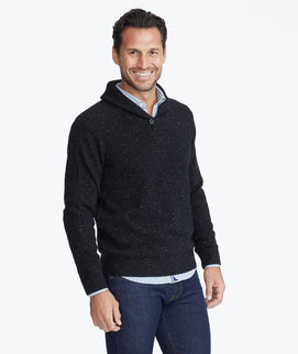 Model wearing a Black Donegal Shawl Collar Sweater