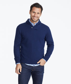 Model wearing a Navy Shawl Collar Sweater