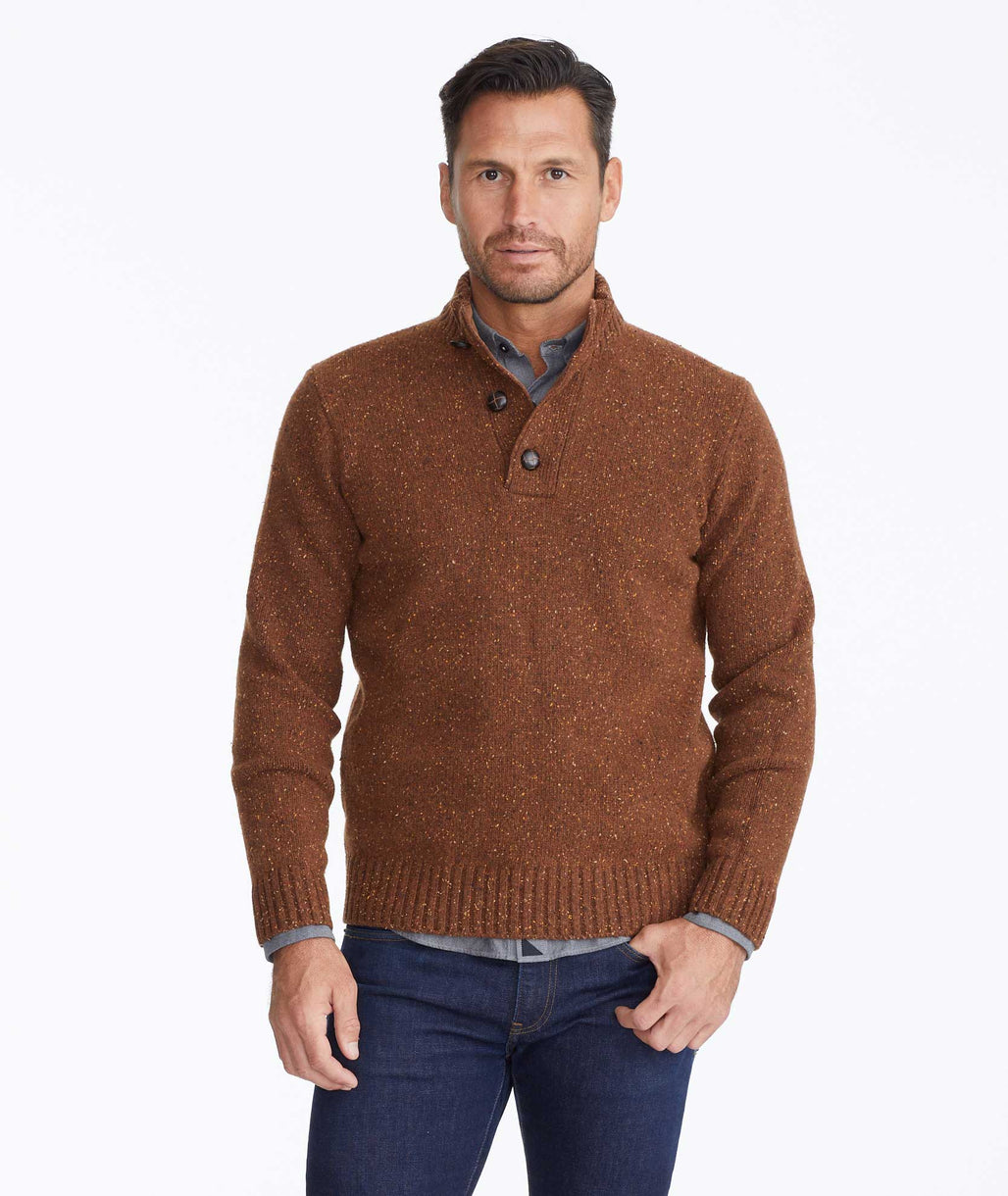 Model wearing a Brown Button-Neck Donegal Sweater