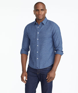 Model wearing a Blue Wrinkle-Free Veneto Shirt