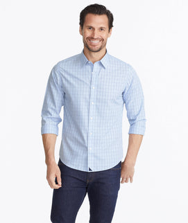 Model wearing a Light Blue Wrinkle-Free Lakeport Shirt