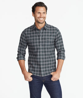 Model wearing a Grey Heavyweight Wrinkle-Free Flannel Vigouroux Shirt