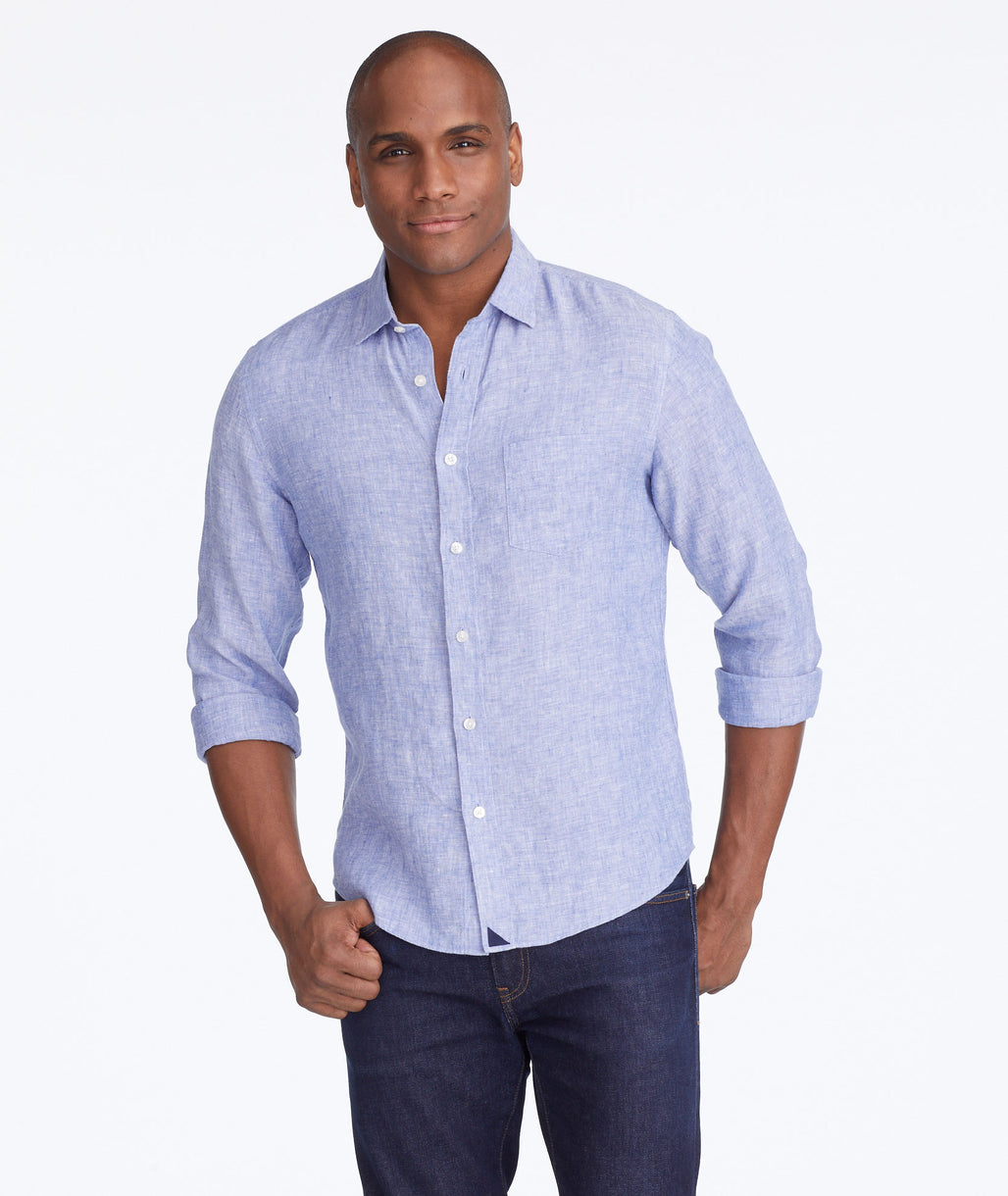 Model wearing a Blue Wrinkle-Resistant Linen Vin Santo Shirt