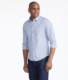 Model wearing a Blue Wrinkle-Free Yanberg Shirt