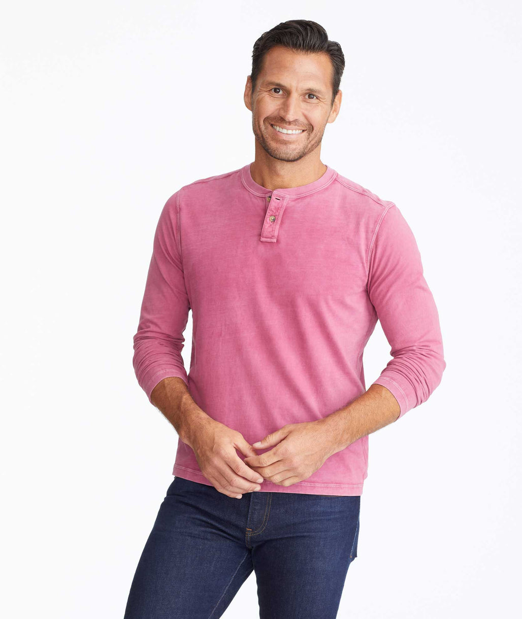 Model wearing a Dark Red Long-Sleeve Pima Cotton Henley