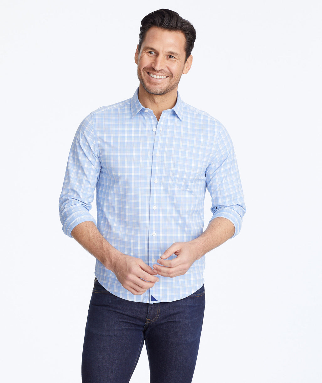 Model wearing a Light Blue Wrinkle-Free Performance+ Zonte Shirt