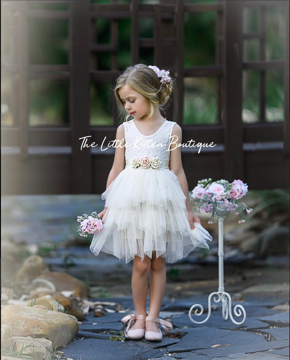 Flower girl dresses, birthday dresses in blush pink ivory and white tulle