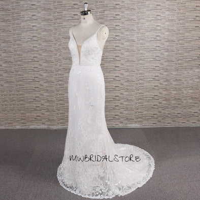 White Lace Wedding Dress | Ivory Lace Sheath Bridal Gown | PAULA