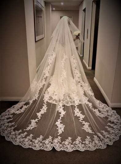 Floral Lace Cathedral Wedding Veil, Bridal Cathedral veil with Comb, Two tier Wedding Veil, Wedding Drop style Veil ELLISE