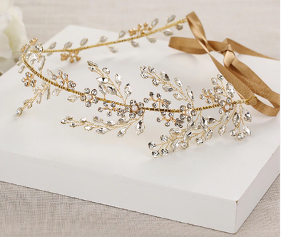 Wedding Tiara,Crystal Embellished Tiara, Floral Tiara