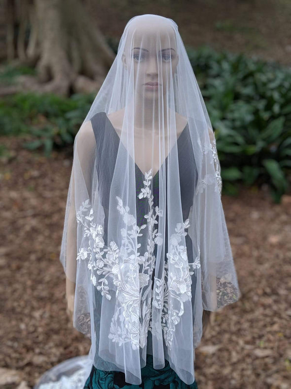 Floral Lace wedding Veil, Drop Wedding Veil, JUDY